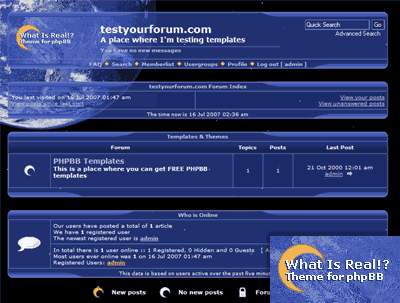 What is real and What is real life PHPBB template