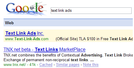 Google penalizes Text Link Ads