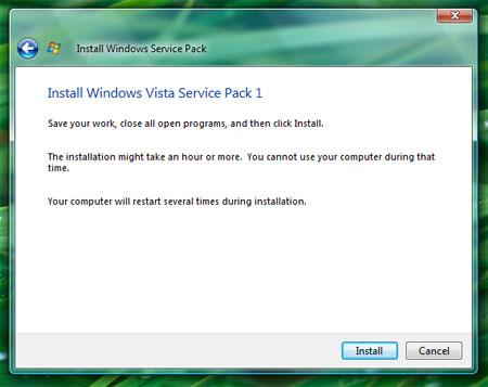 Install Windows Vista Service Pack 1 Install