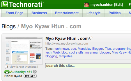 Technorati Top 10K Myo Kyaw Htun .com